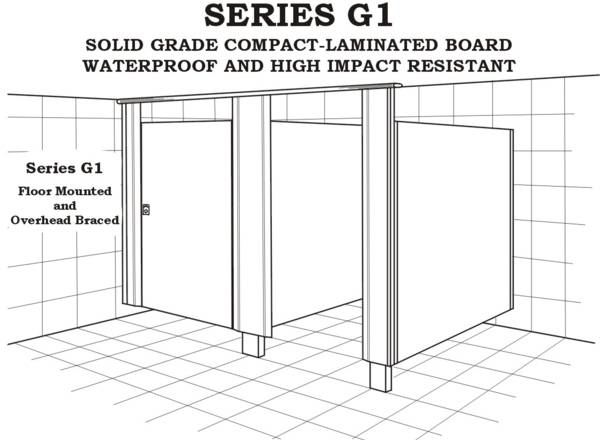 Series G1 shower, floor mounted and overhead braced