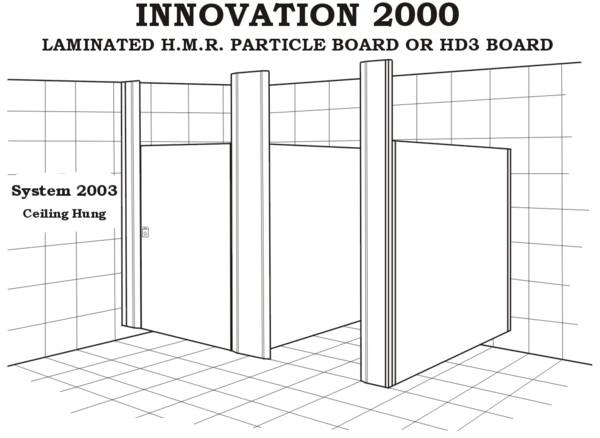 System 2003 toilet partition, ceiling hung