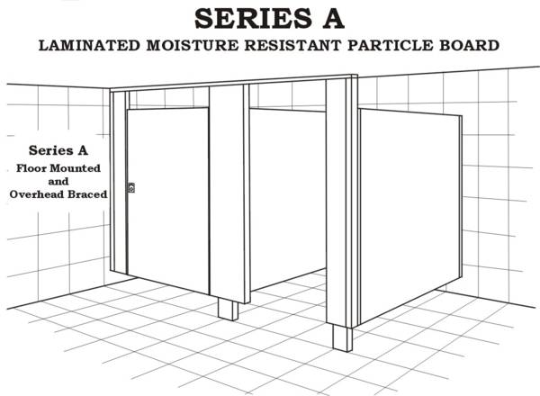 Series A toilet, floor mounted and overhead braced