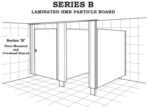 Series B toilet, floor mounted and overhead braced