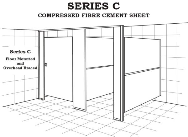 Series C toilet, floor mounted and overhead braced