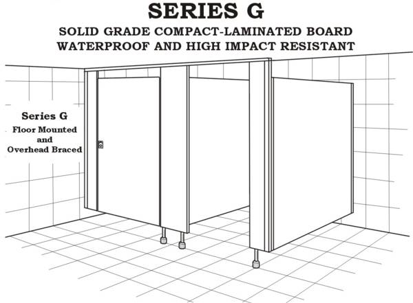 Series G toilet, floor mounted and overhead braced